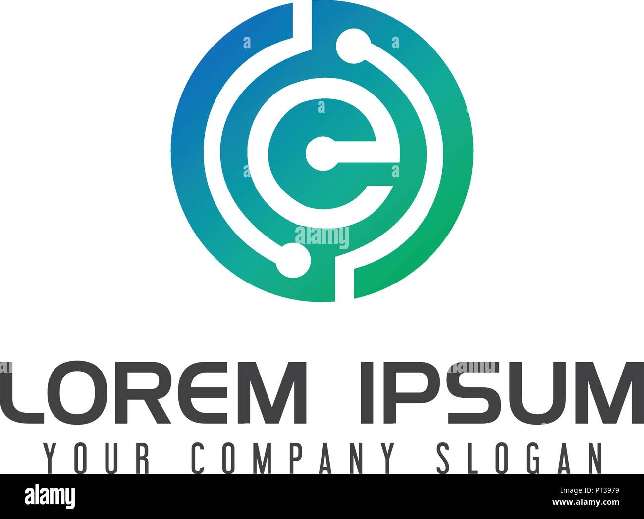 electricity letter e logo technology network design concept