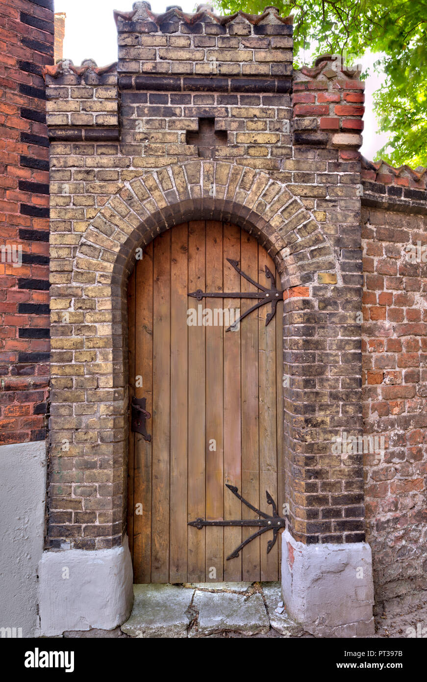 House facade, front door, Wismar, Baltic Sea coast, Mecklenburg-Vorpommern, Germany, Europe - Stock Image