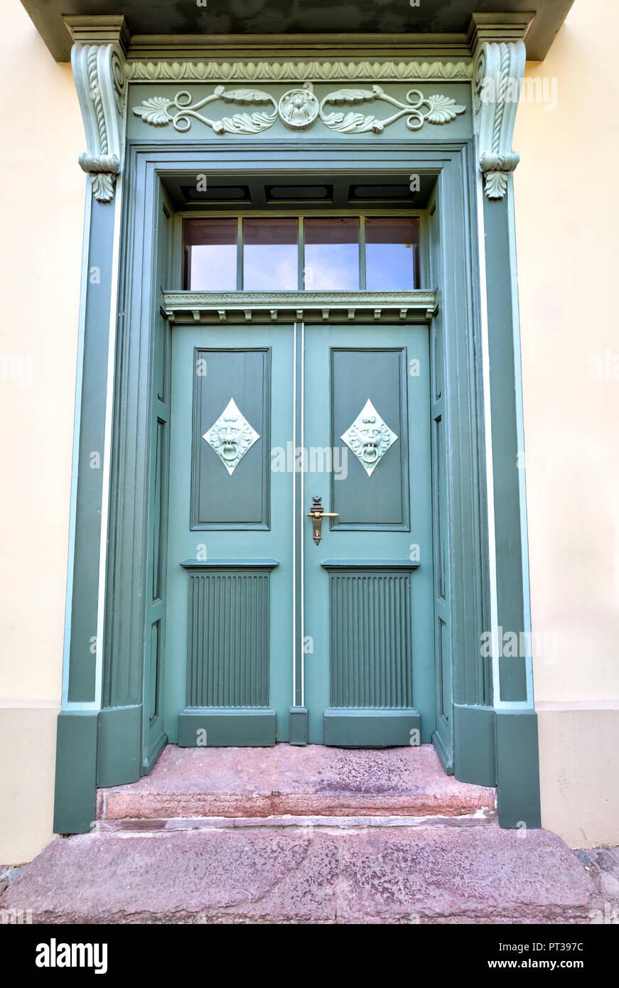 House facade, front door, Wismar, Baltic Sea coast, Mecklenburg-Vorpommern, Germany, Europe - Stock Image