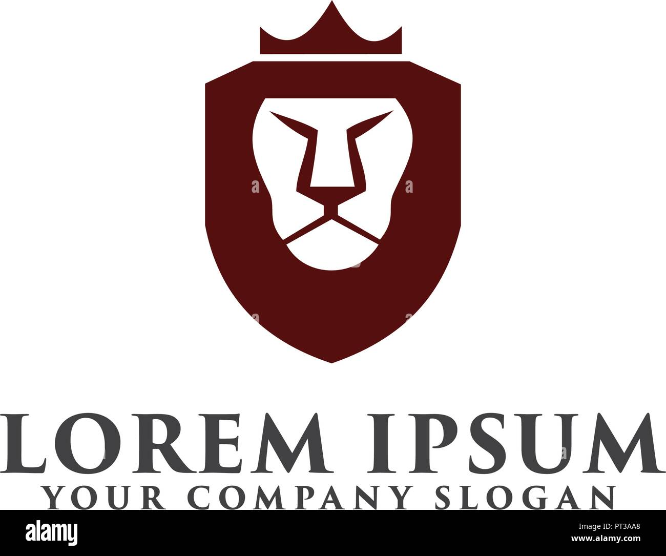 Lion Shield With Crown Logo Luxury Design Concept Template