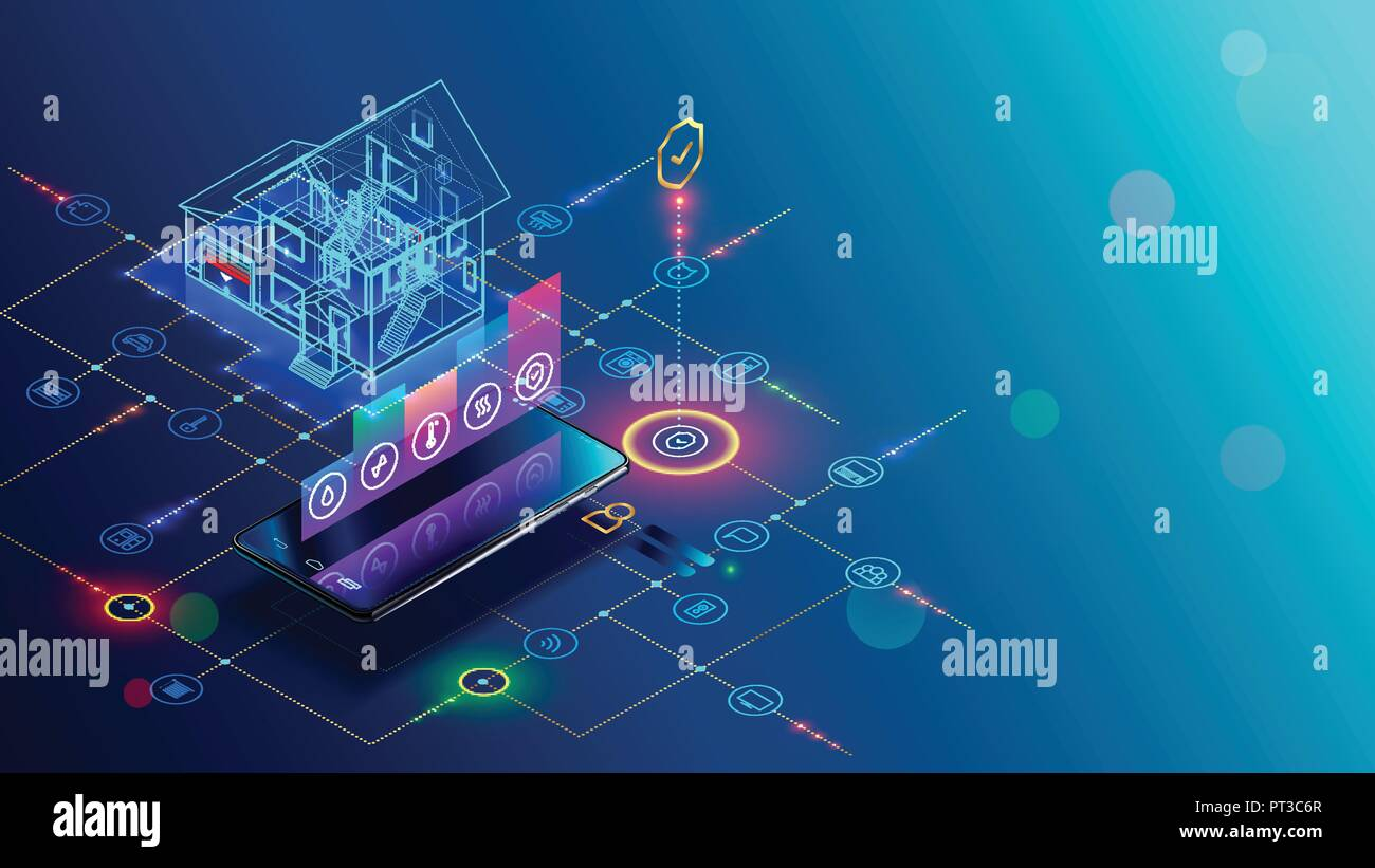 Smart home with internet of things isometric concept. IOT technology in house automation design. Smartphone for wireless control of household appliances via internet. Protection house infrastructure. - Stock Image