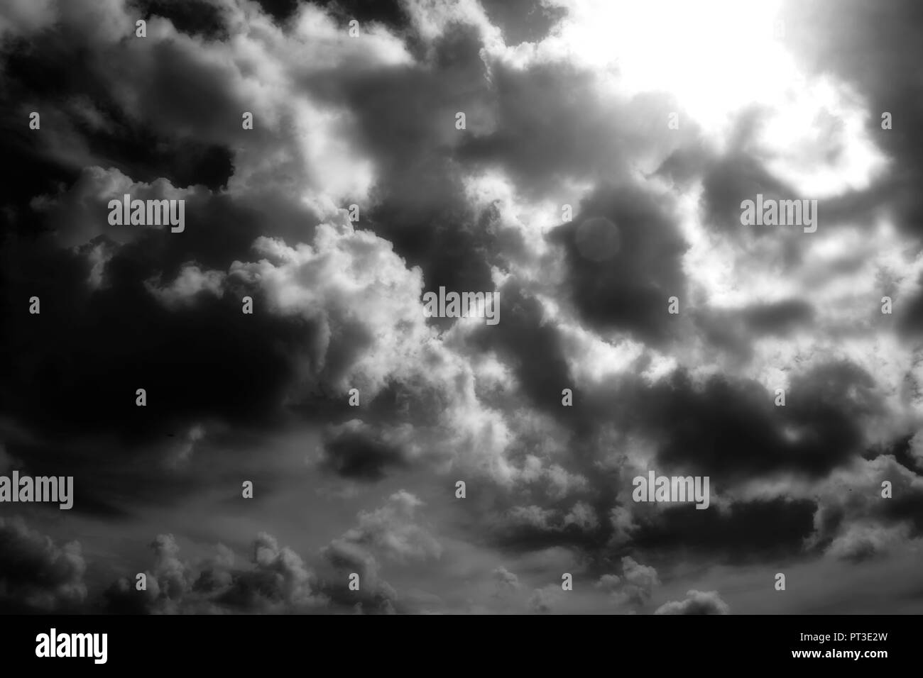 Dramatic Sky with Clouds in black and white - Stock Image
