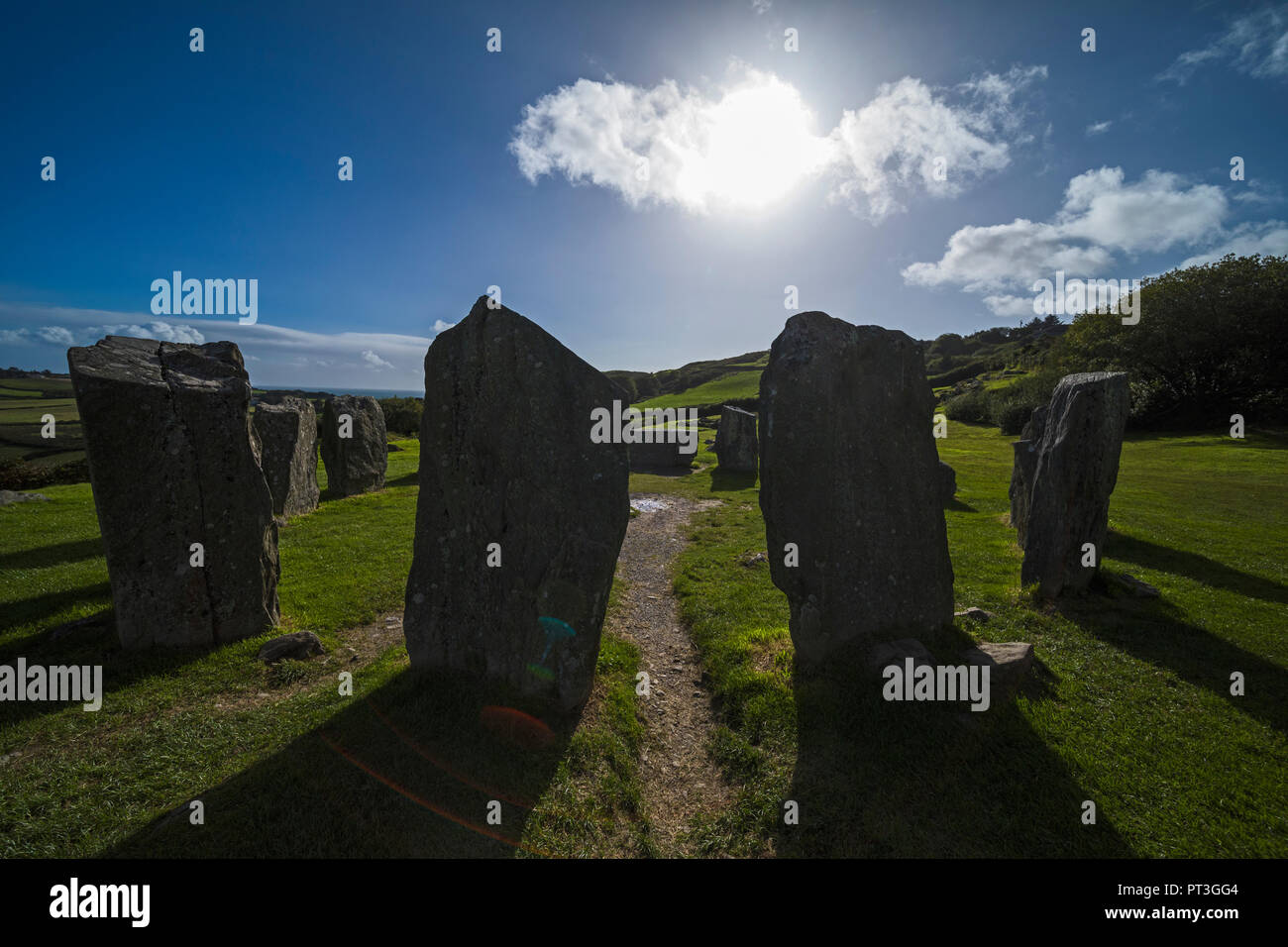 near Glandore, County Cork, Republic of Ireland.  Drombeg recumbent stone circle.  It is also known locally as The Druid's Altar.  The structure dates - Stock Image