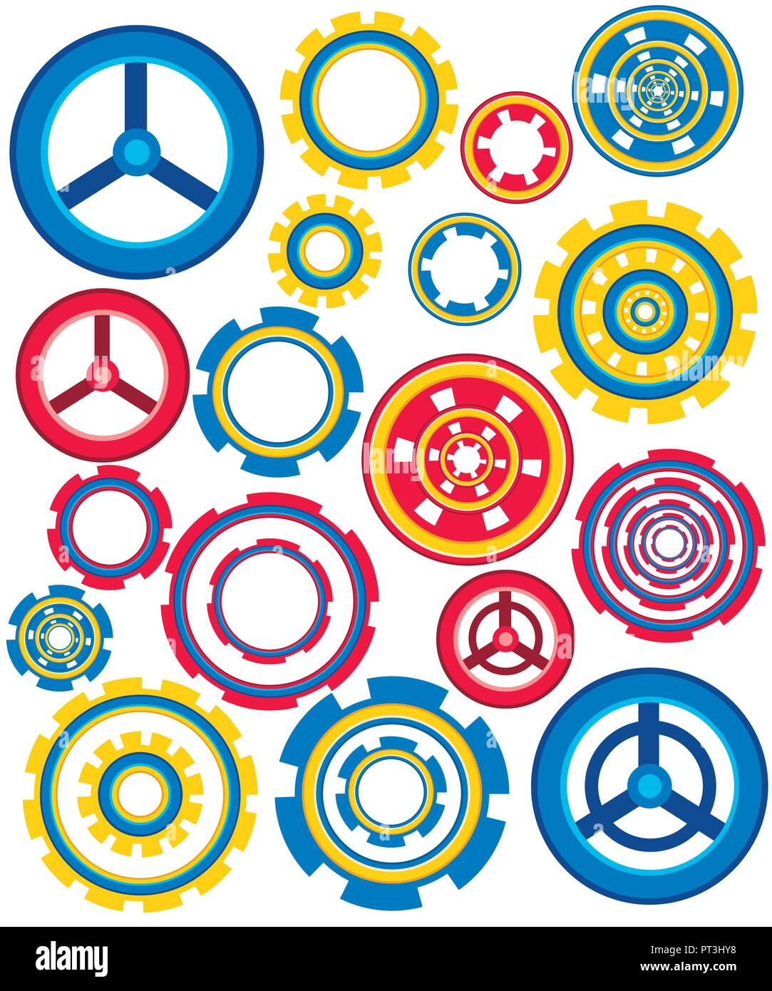 Collection Of Colorful Gear Wheels Icons Set Flat Vector Electrical Symbol Icon Isolated On A White Background Stock Illustration