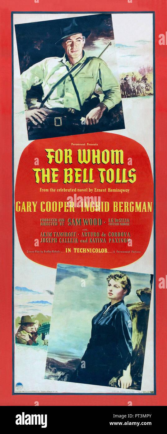 Prod DB © Paramount Pictures / DR POUR QUI SONNE LE GLAS FOR WHOM THE BELL TOLLS de Sam Wood 1942 USA affiche americaine Ingrid Bergman Gary Cooper d' - Stock Image
