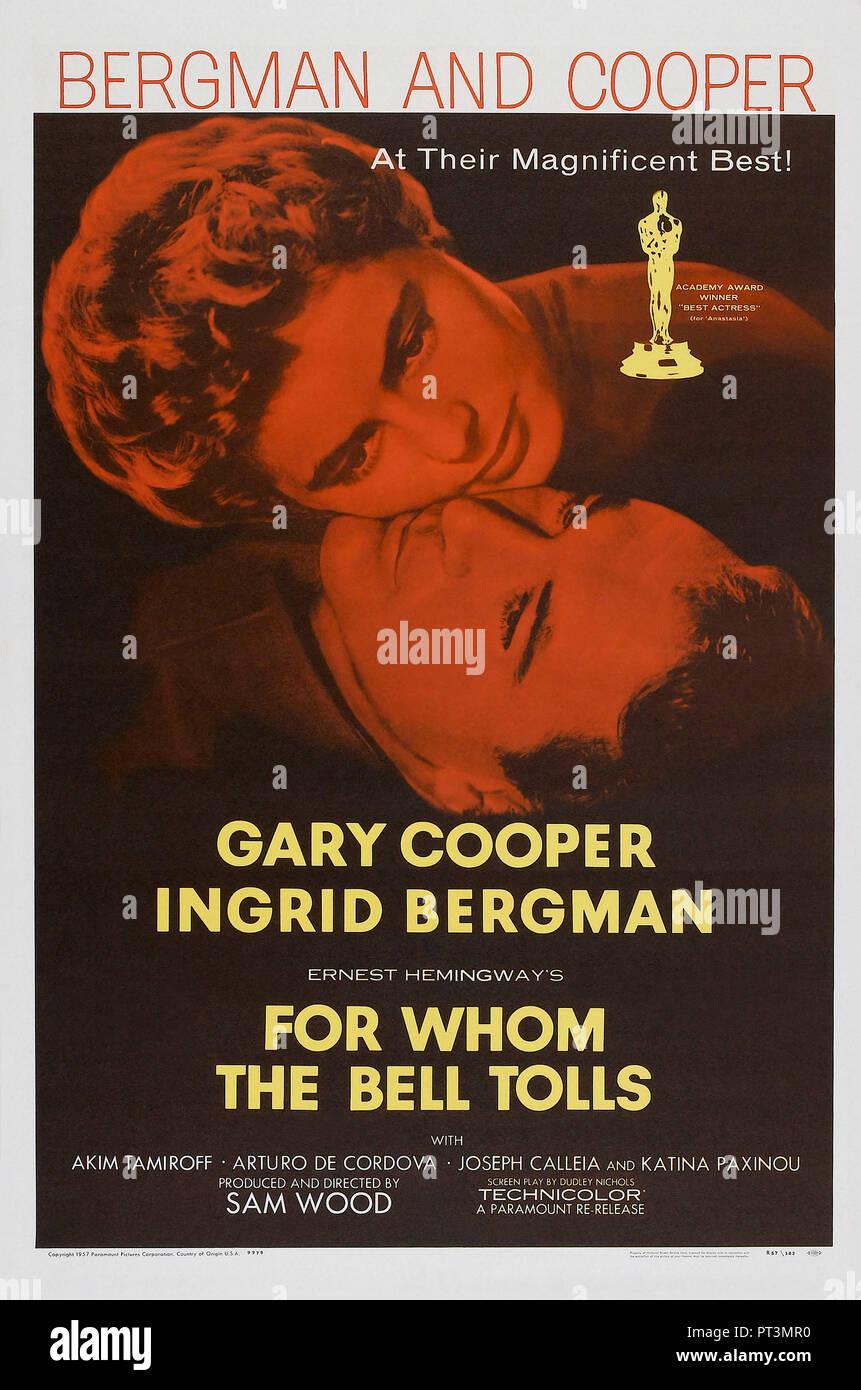 Prod DB © Paramount Pictures / DR POUR QUI SONNE LE GLAS FOR WHOM THE BELL TOLLS de Sam Wood 1942 USA affiche americaine de ressortie Ingrid Bergman G - Stock Image