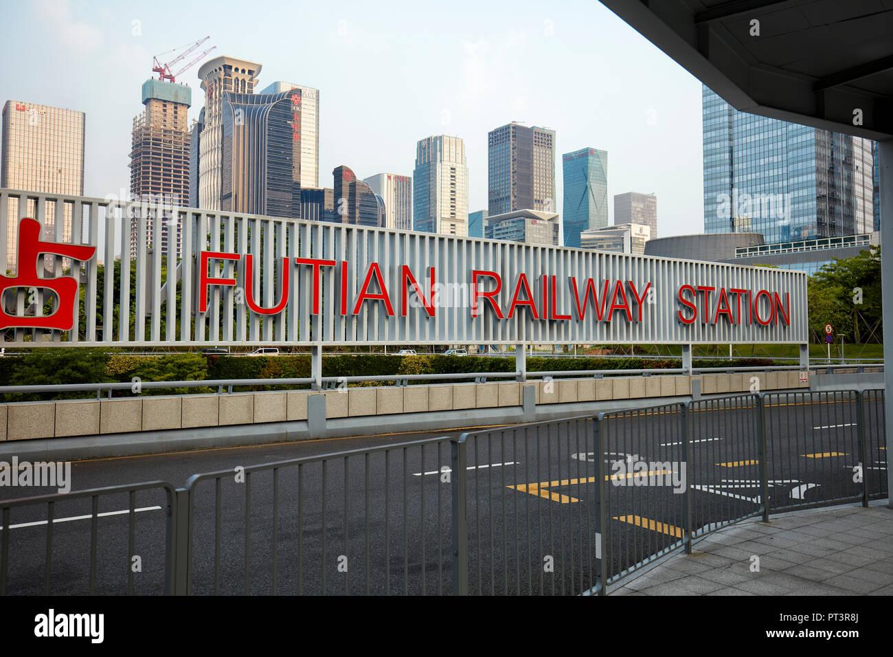 Futian railway station and high-rise buildings of Futian CBD. Shenzhen, Guangdong Province, China. - Stock Image