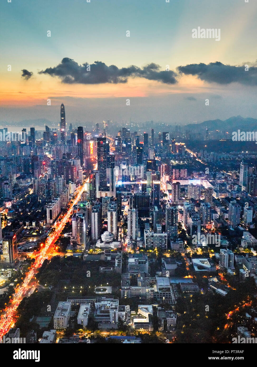 Aerial city view from the top of KK100 (Kingkey 100) skyscraper at dusk. Luohu District, Shenzhen, Guangdong Province, China. - Stock Image