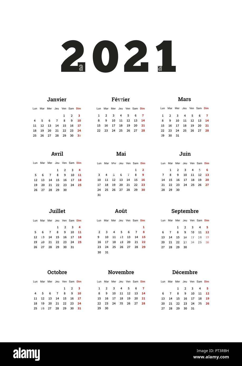 2021 year simple calendar on french language, A4 size vertical