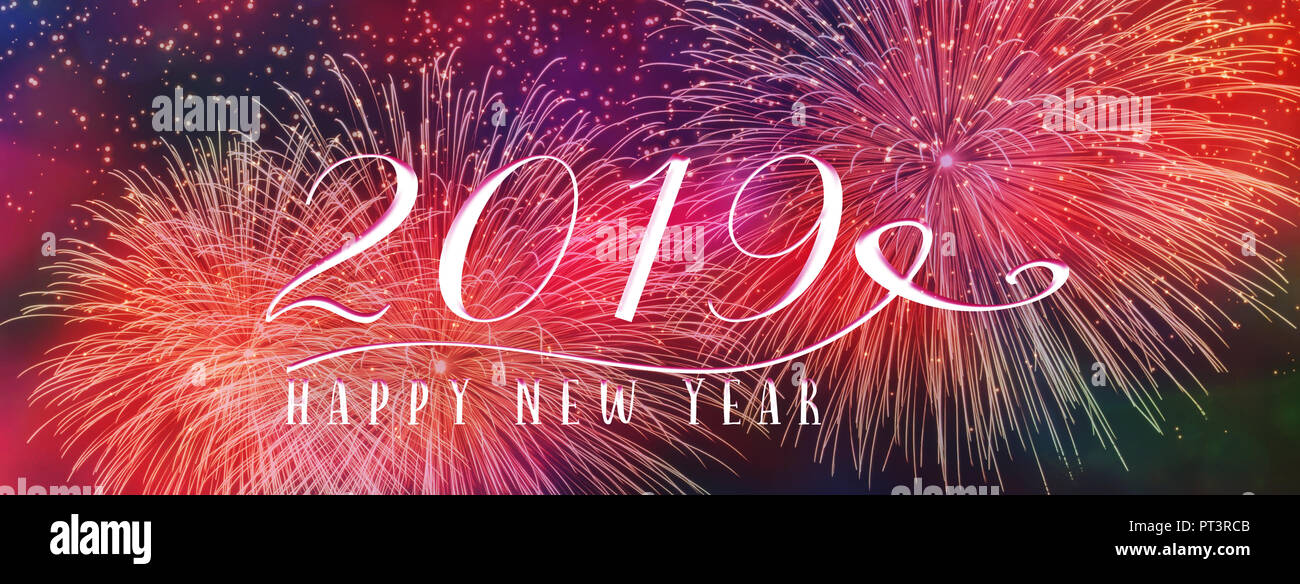 new year holiday 2019 background banner with fireworks and seasonal quote scales to fit a facebook header perfect for social media influencers and b