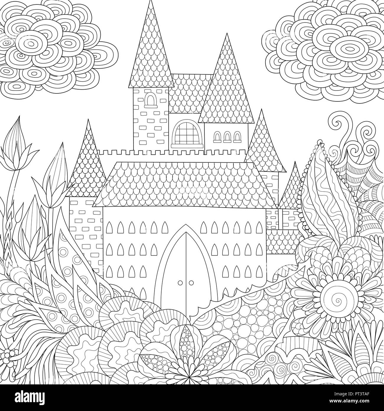 Line Art Design Of Jungle And Castle Coloring Book For Adults