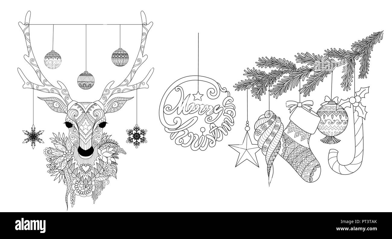 Zentangle stylized of Christmas deer and ornaments for coloring book ...
