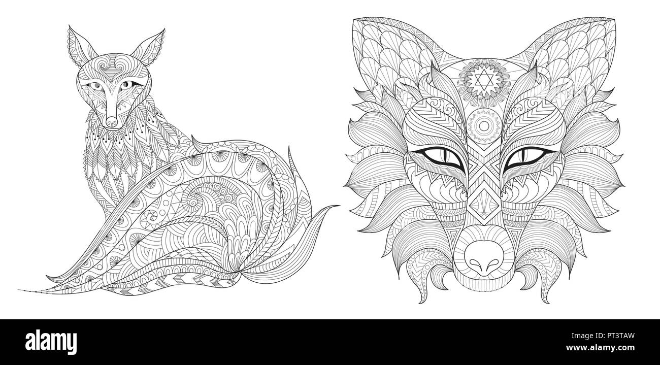 Zentangle Stylized Of Red Fox Set For Printing On Product And Adult Coloring Book Page For Anti Stress Vector Illustration Stock Vector Image Art Alamy