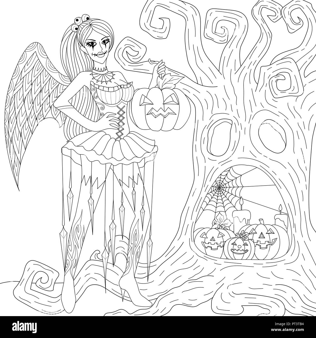 - Halloween Coloring Pages. Coloring Book For Adults. Gothic Girl