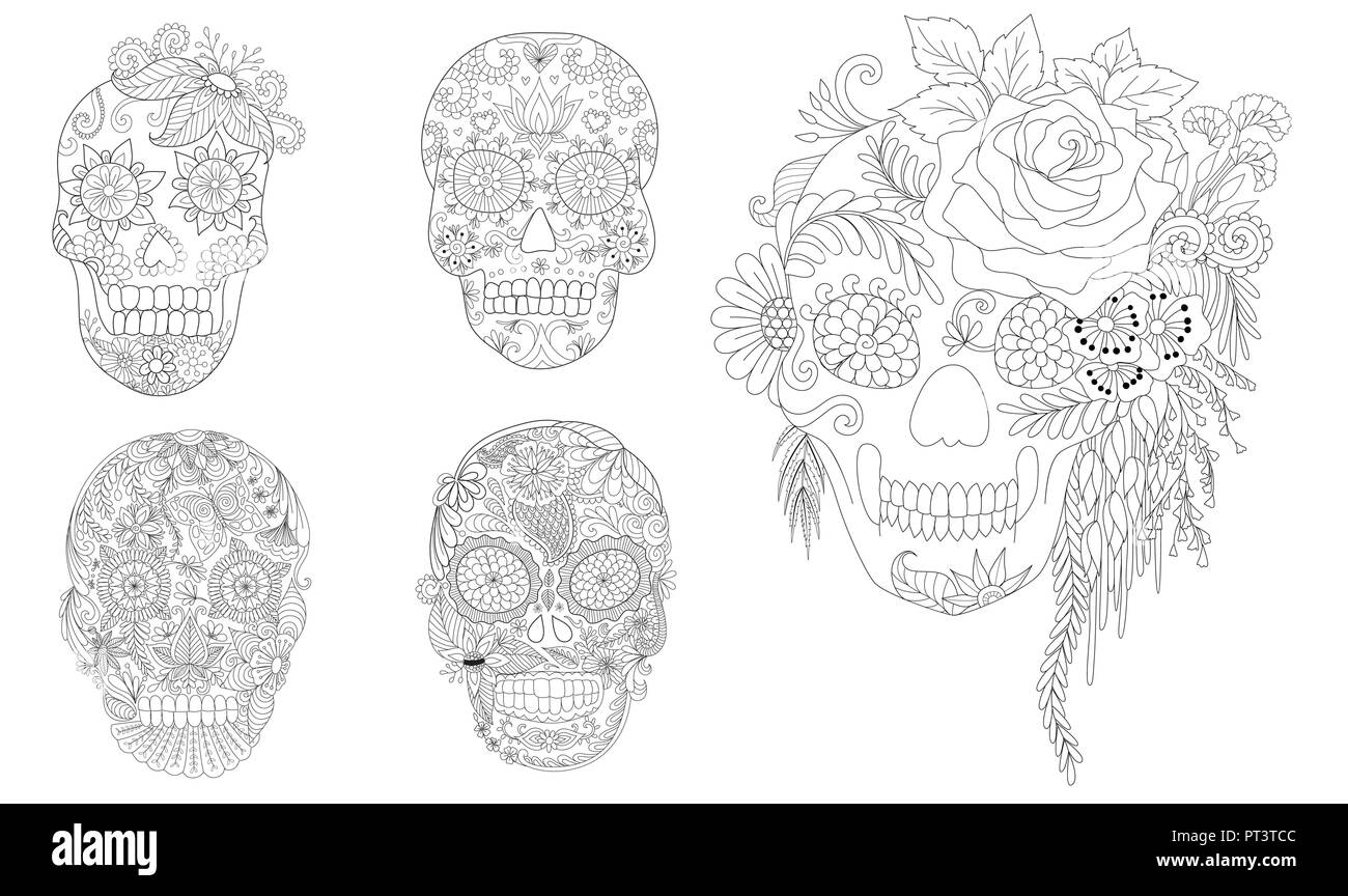 Halloween Coloring Pages Book For Adults Flowers On Skulls Collection Design Element