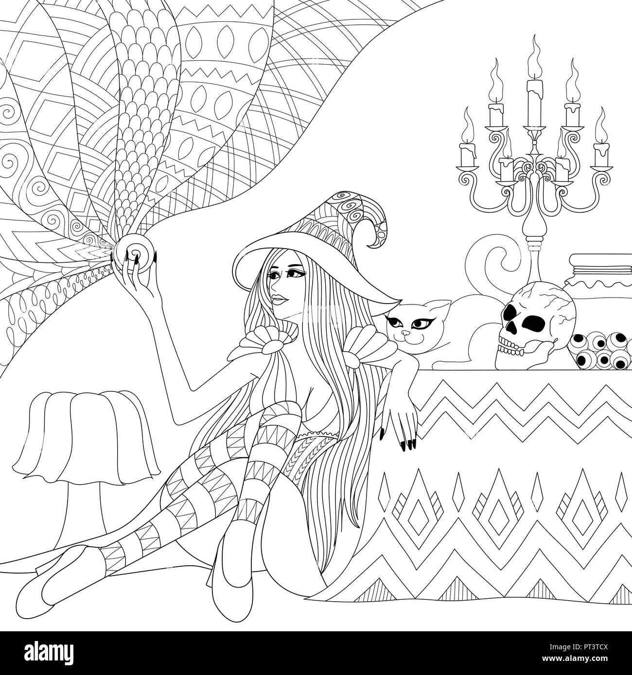 Witch Riding Broomstick coloring page | Free Printable Coloring Pages | 1390x1300