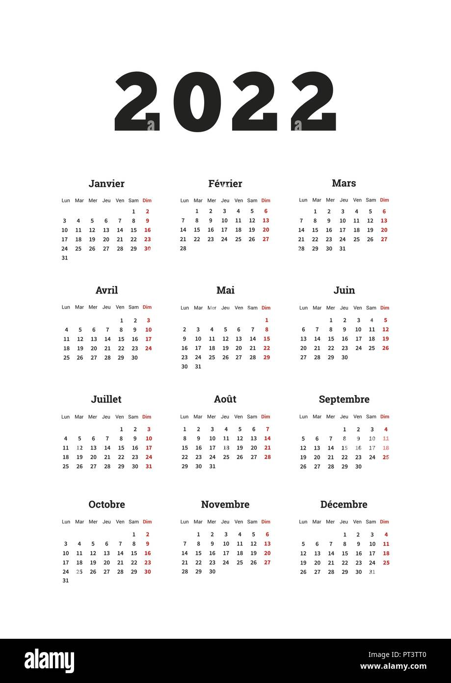 Calendrier 2022 Simple 2022 year simple calendar on french language, A4 size vertical