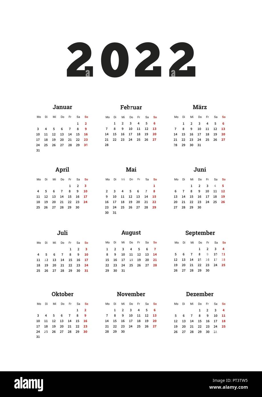 Calendrier 2022 Simple Calendar 2022 High Resolution Stock Photography and Images   Alamy
