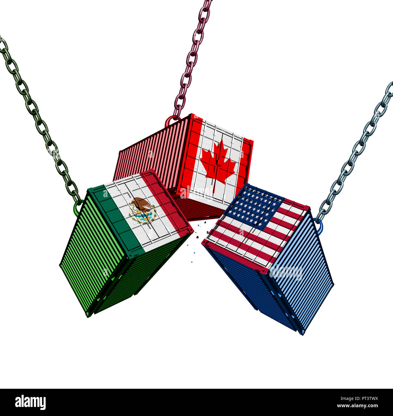 United States Mexico Canada trade agreement as the USMCA with cargo shipping containers joining together as an economic import and export deal. Stock Photo