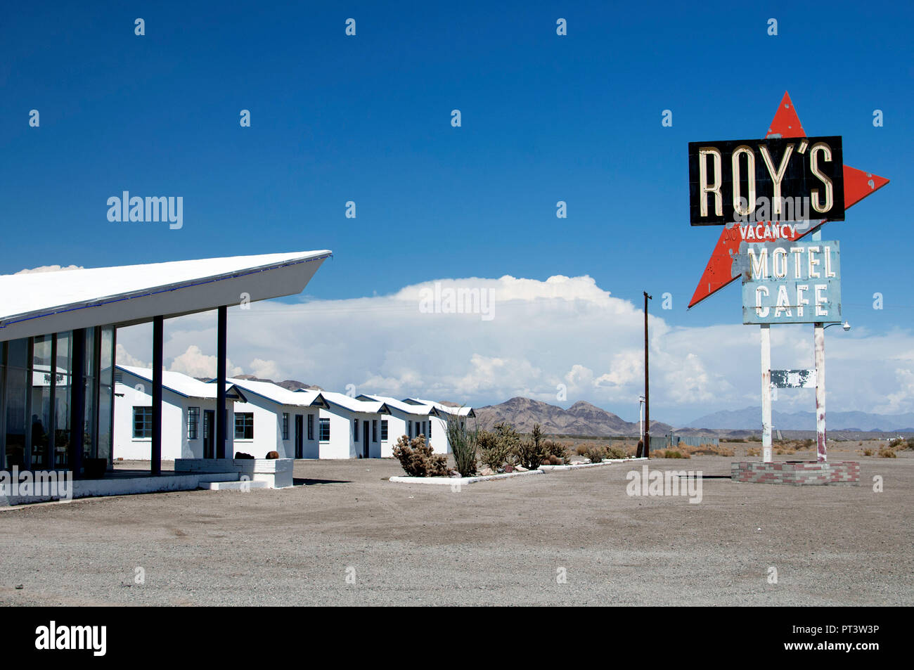 Amboy, USA - August, 2014. Roy's motel and cafe in Amboy, California. Famous road 66. - Stock Image