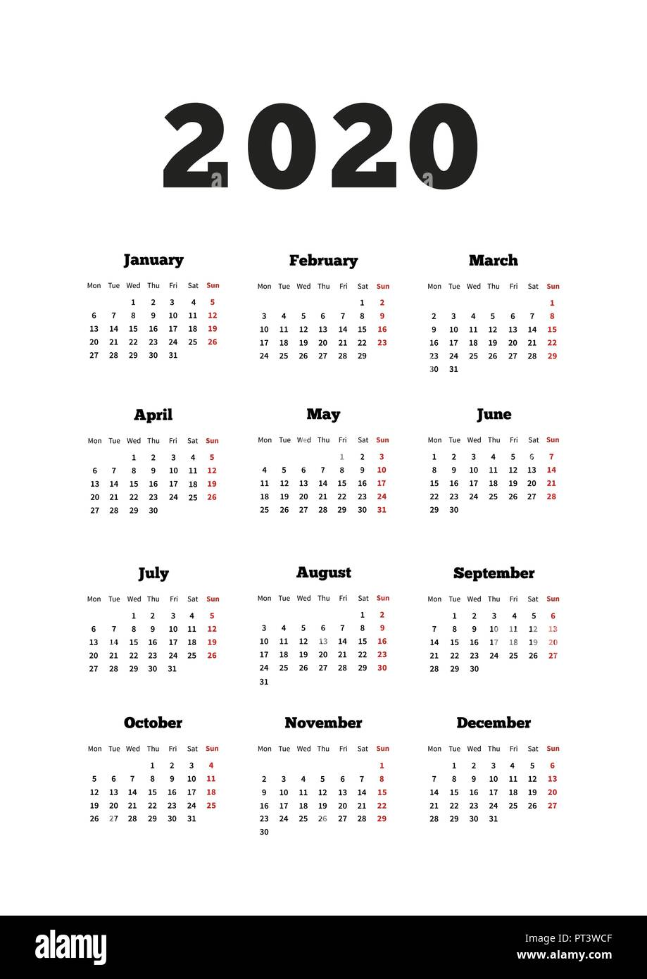 Weeks Of The Year Calendar 2020 Calendar on 2020 year with week starting from monday, A4 size