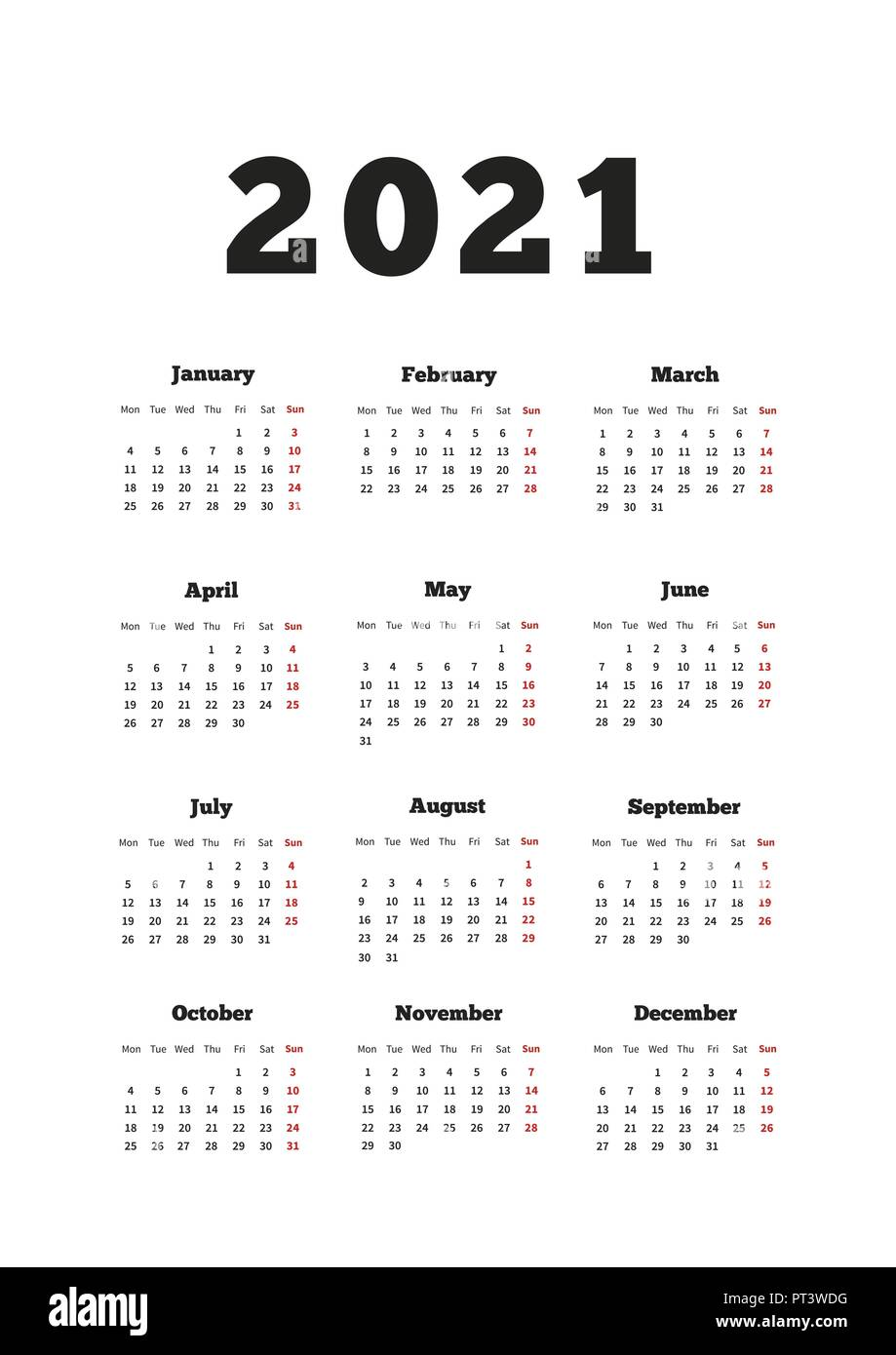 Calendar on 2021 year with week starting from monday, A4 size