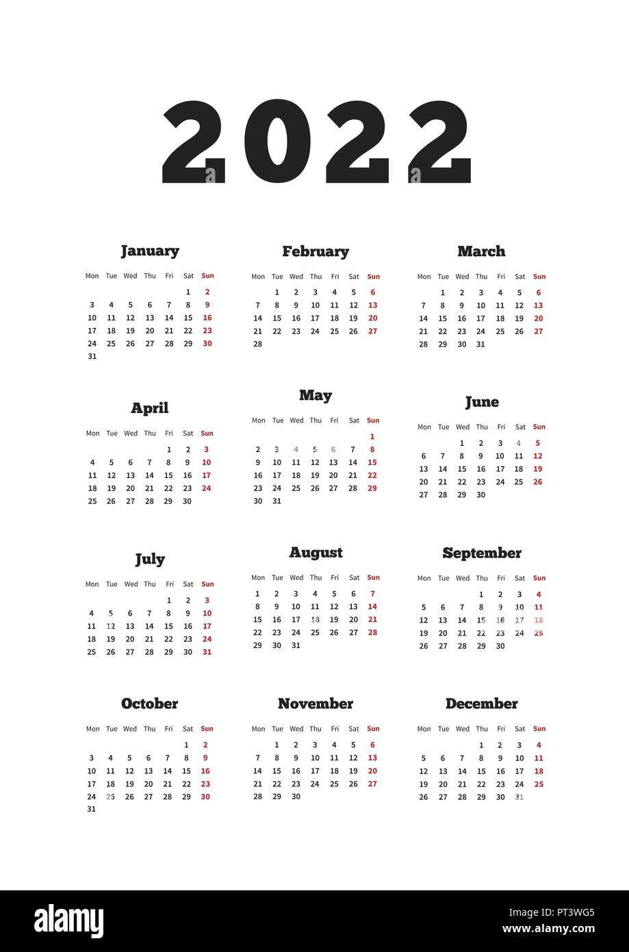 2022 Calendar Monday Start.Calendar On 2022 Year With Week Starting From Monday A4 Size Vertical Sheet On White Stock Vector Image Art Alamy