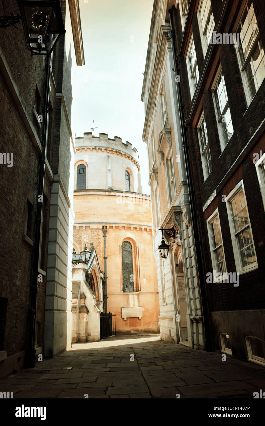 Narrow lane with view on Templar's Church. London. - Stock Image