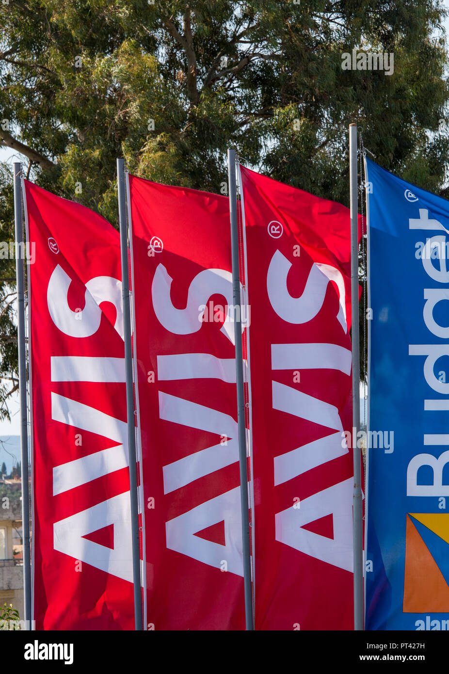 Avis Car Hire Shop Or Depot Flags And Advertising Banners Stock Photo Alamy