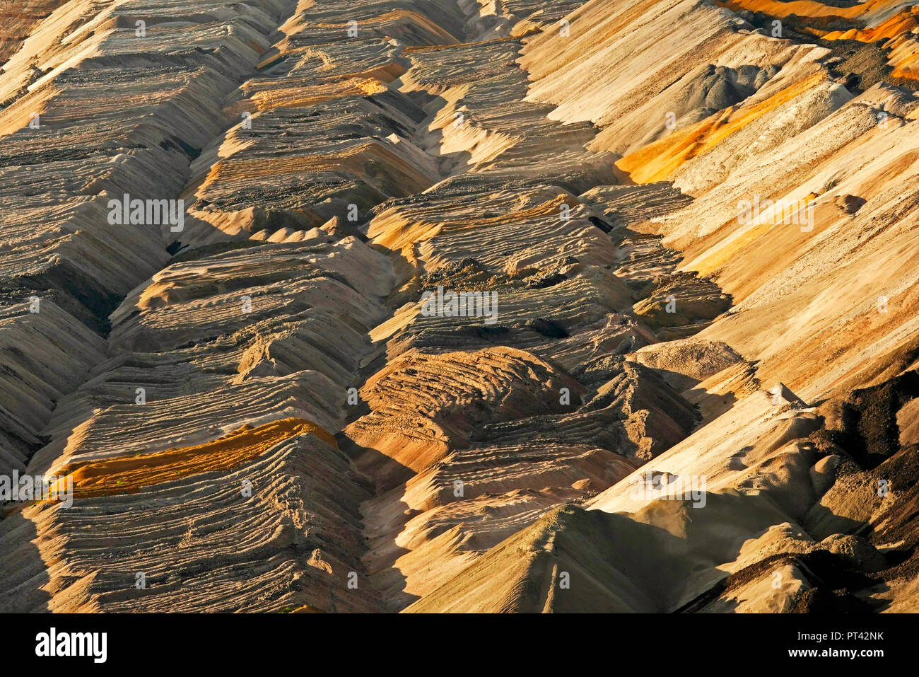 Soil layer at the soft coal opencast mining Hambach near Bergheim, Rhenish brown coal field, North Rhine-Westphalia, Germany Stock Photo