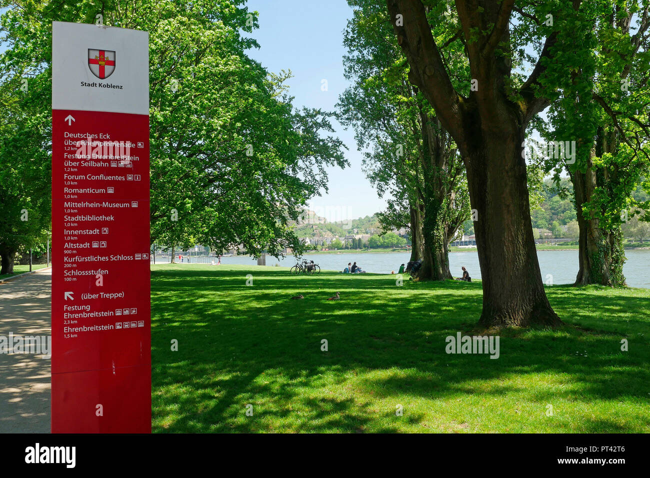 Signpost in the Empress Augusta facilities on the banks of the Rhine, Koblenz, Rhine Valley, Rhineland-Palatinate, Germany - Stock Image