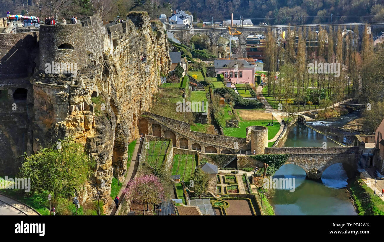 Block Rock Casemates and Valley of the Alzette, city Luxembourg, Luxembourg - Stock Image