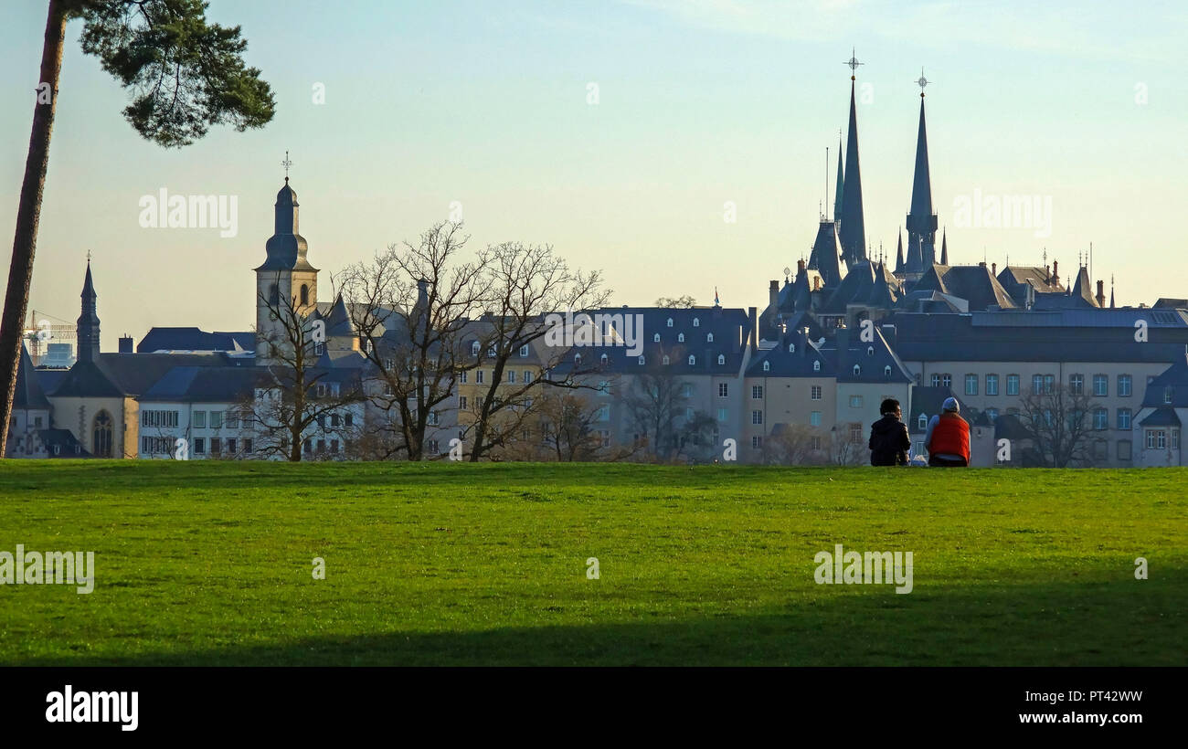 View from the Kirchberg Plateau to the old town, Luxembourg City, Luxembourg - Stock Image