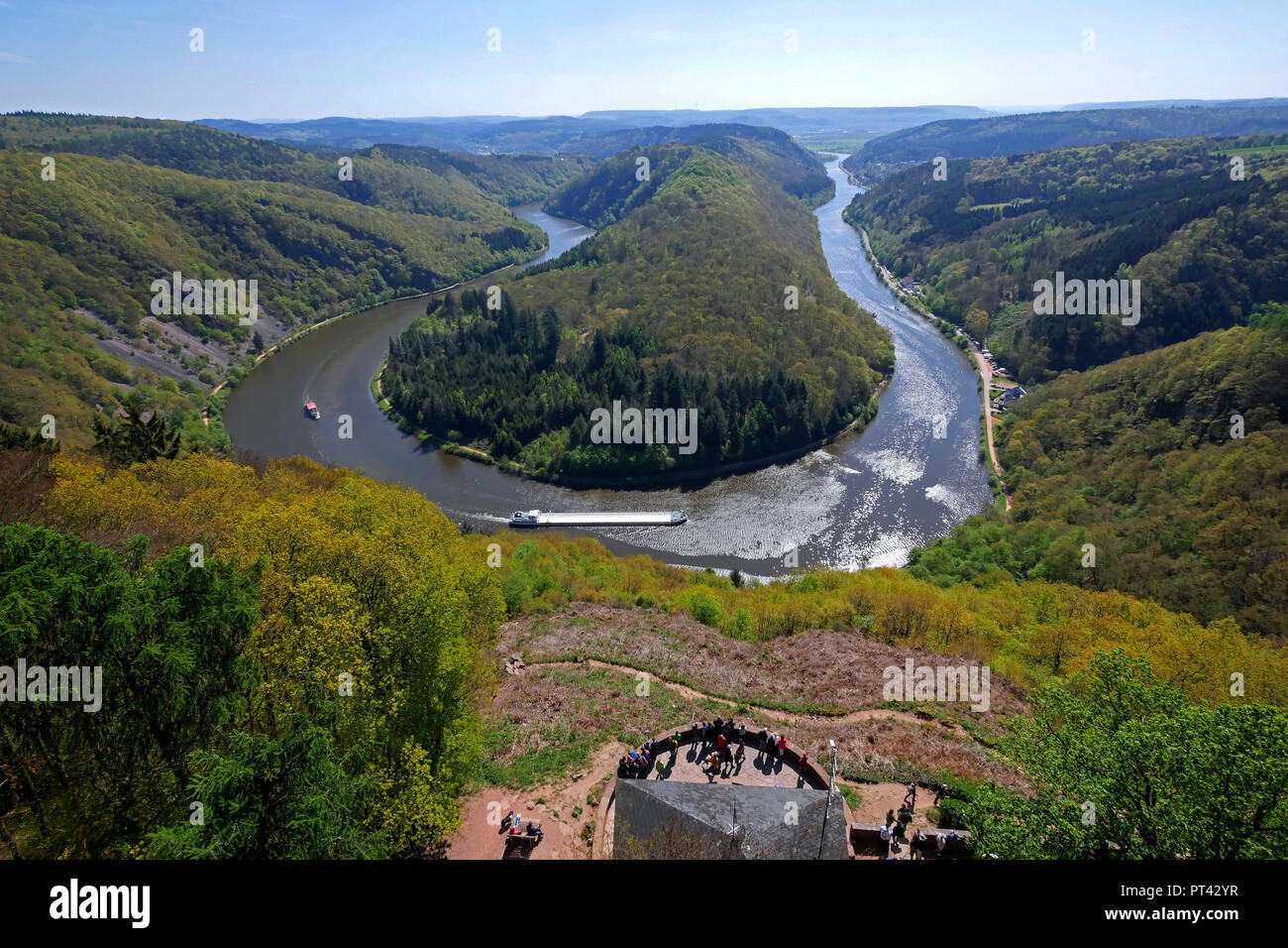 Viewpoint Cloef and big Saar loop, Mettlach-Orscholz, Saarland, Germany - Stock Image