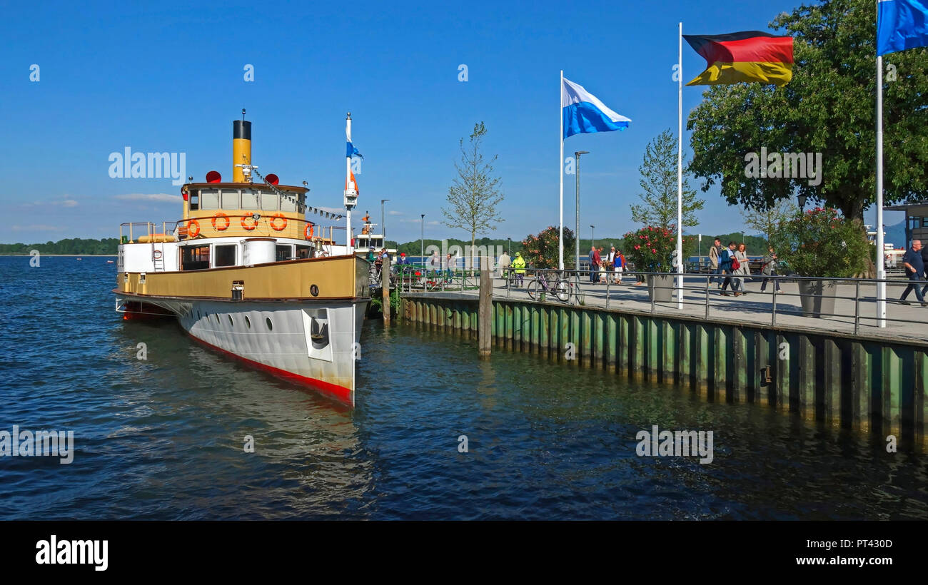 Steamer at the pier in Prien am Chiemsee, Chiemgau, Upper Bavaria, Bavaria, Germany Stock Photo