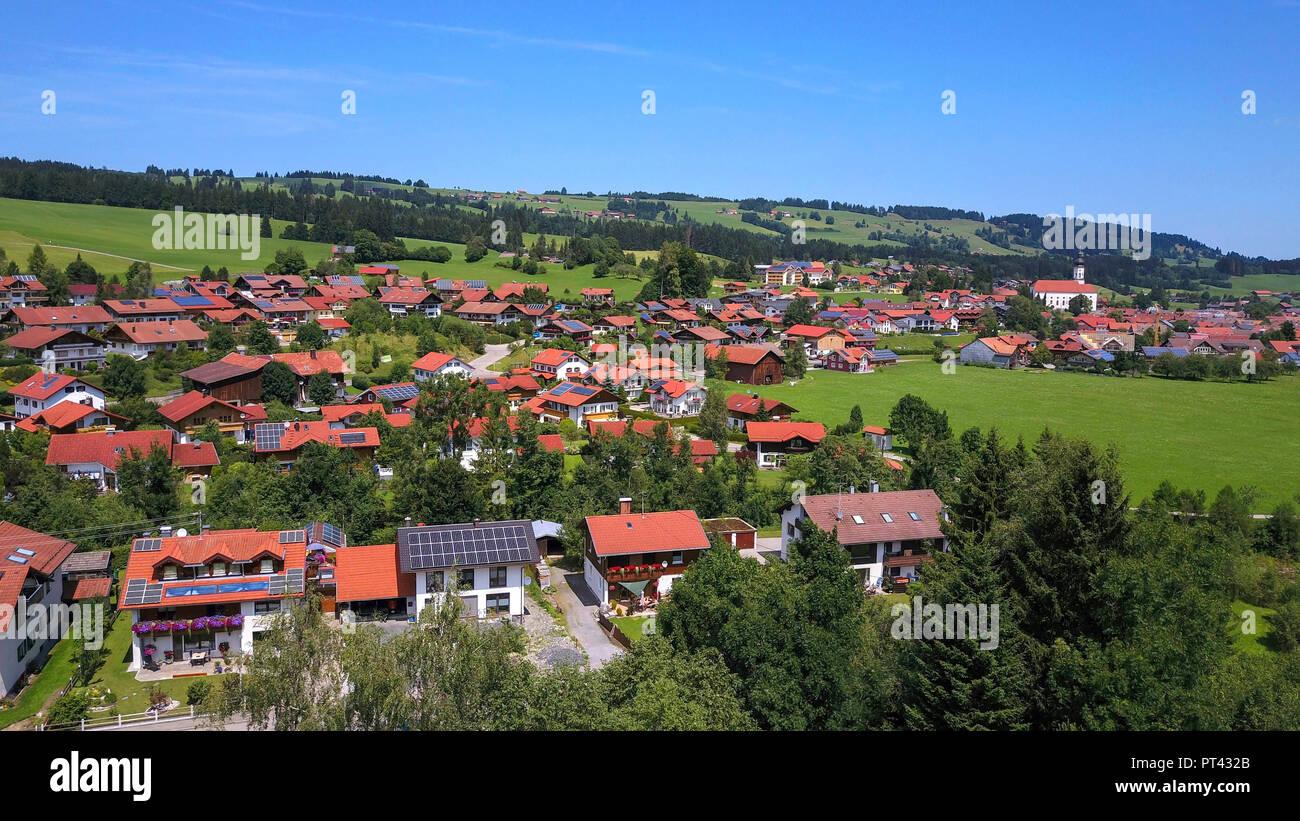 View on Wertach, Ostallgäu, Allgäu, Swabia, Bavaria, Germany - Stock Image
