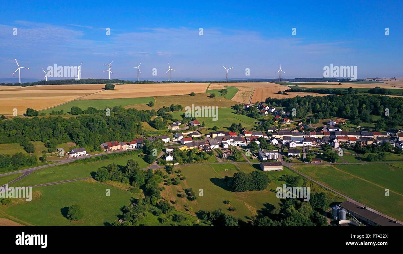 Meurich and Windpark, Saargau, Trier-Saarburg, Rhineland-Palatinate, Germany - Stock Image