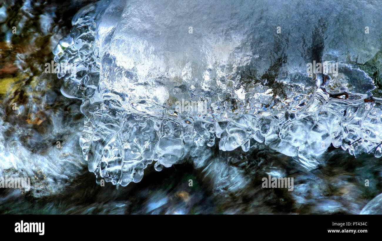 Ice formation on a small forest stream, Wenichbach in the Tabener jungle, Taben-Rodt, Saar Valley, Rhineland-Palatinate, Germany Stock Photo