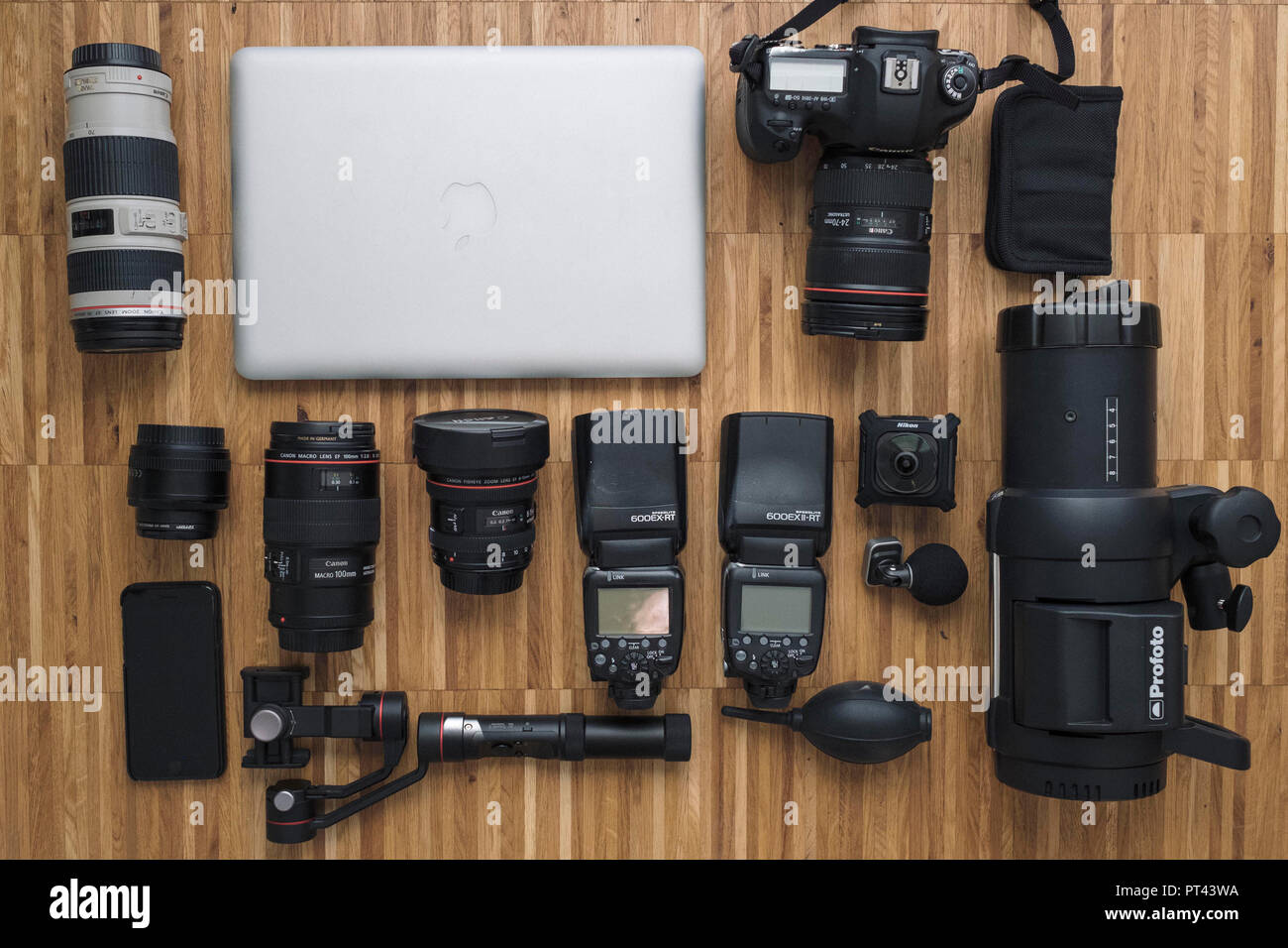 Symbolic photo, camera bag, content, equipment, accessories, - Stock Image