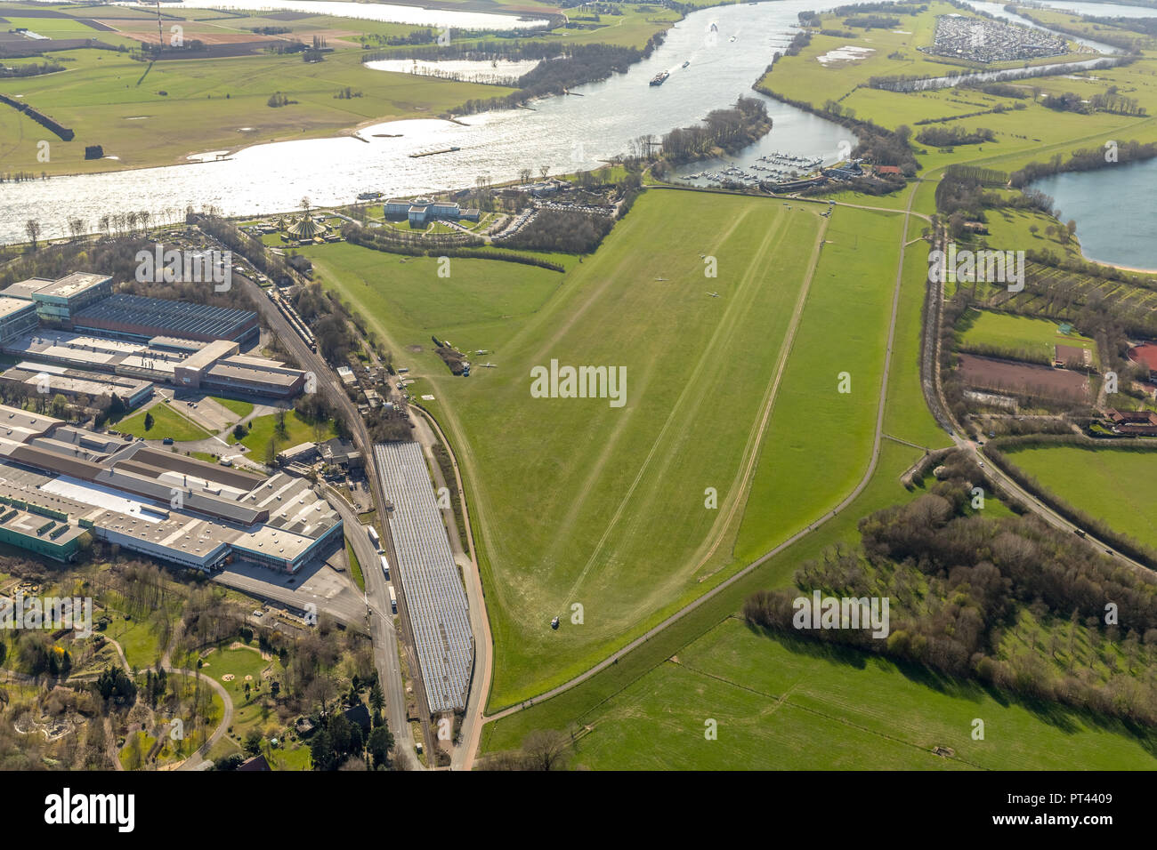 Aerodrome Wesel-Römerwardt, Gliding Grounds, General Aviation, Wesel, Rhineland, Hanseatic City, Lower Rhine, North Rhine-Westphalia, Germany - Stock Image