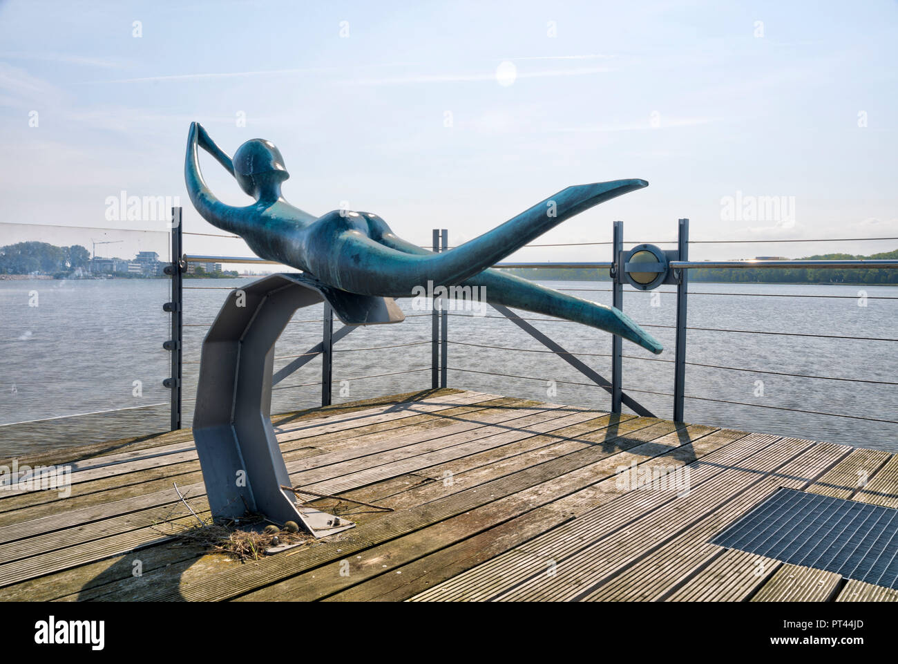 Sculpture am Steinwarder, inland lake, holiday park, Heiligenhafen, Baltic Sea, Schleswig Holstein, Germany, Europe - Stock Image