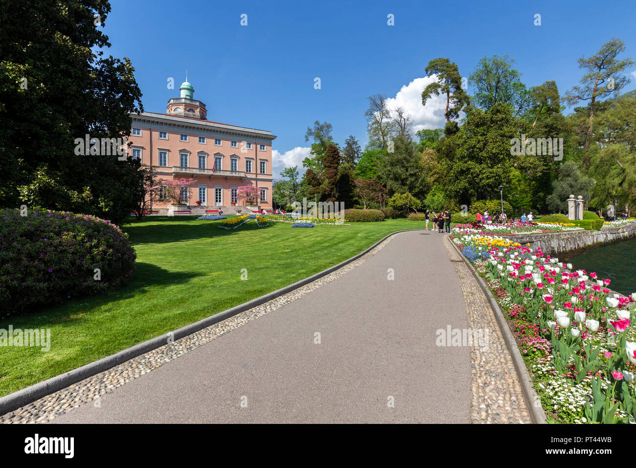 View of Villa Ciani in Lugano city on a spring day, Canton Ticino, Switzerland, Stock Photo