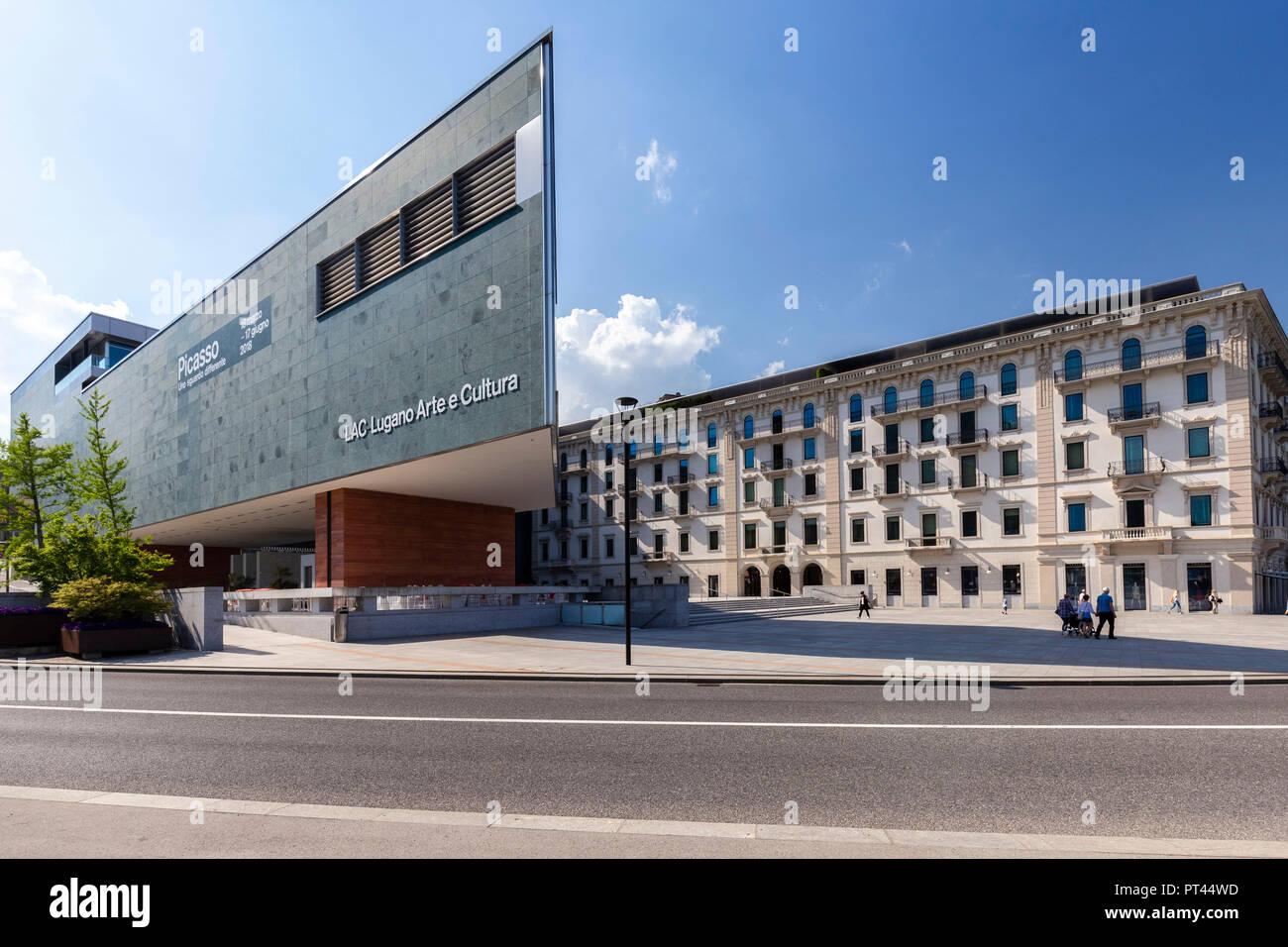 View of the Lugano Arte e Cultura center in downtown Lugano on a spring day, Canton Ticino, Switzerland, - Stock Image