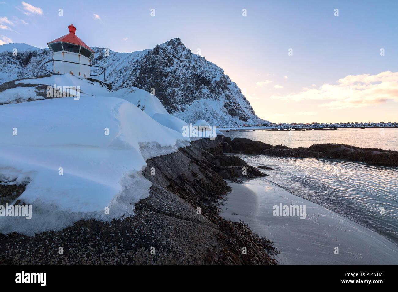 Lighthouse, Eggum, Vestvagoy, Lofoten Islands, Norway - Stock Image
