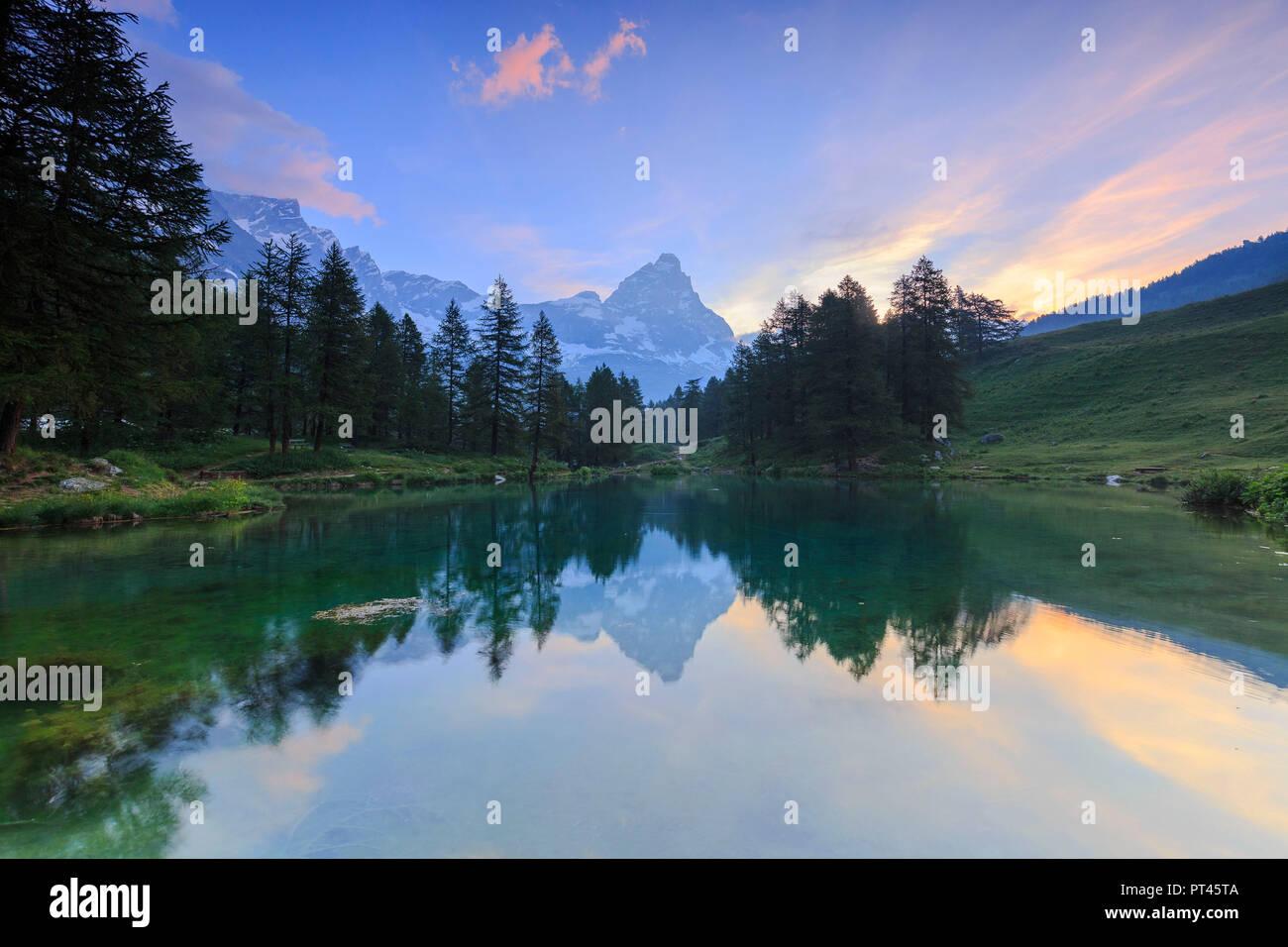 Sunrise from Blue Lake, Blu Lake, Cervinia, Valtournanche, Aosta valley, Italy, Europe - Stock Image