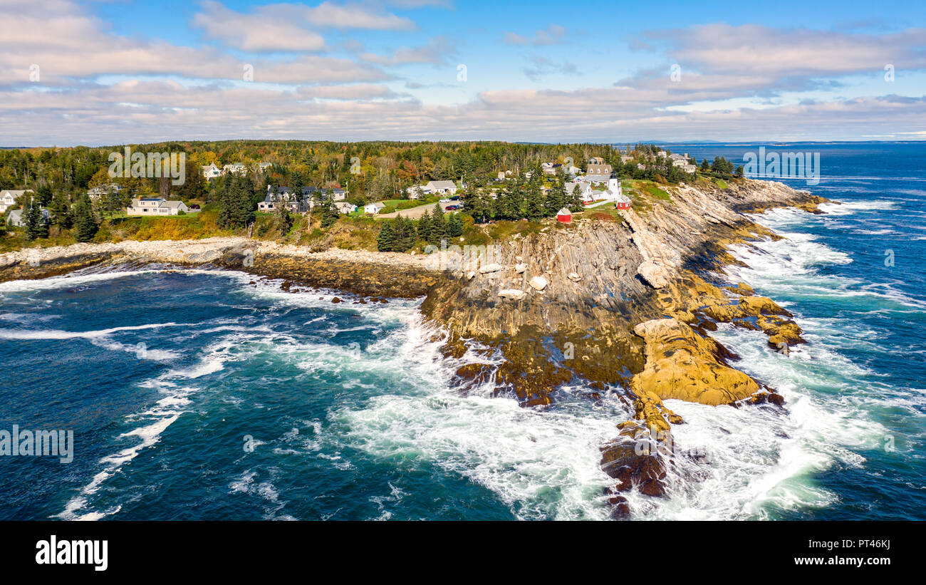 Aerial view of Pemaquid Point Light. The Pemaquid Point Light is a historic US lighthouse located in Bristol, Lincoln County, Maine - Stock Image