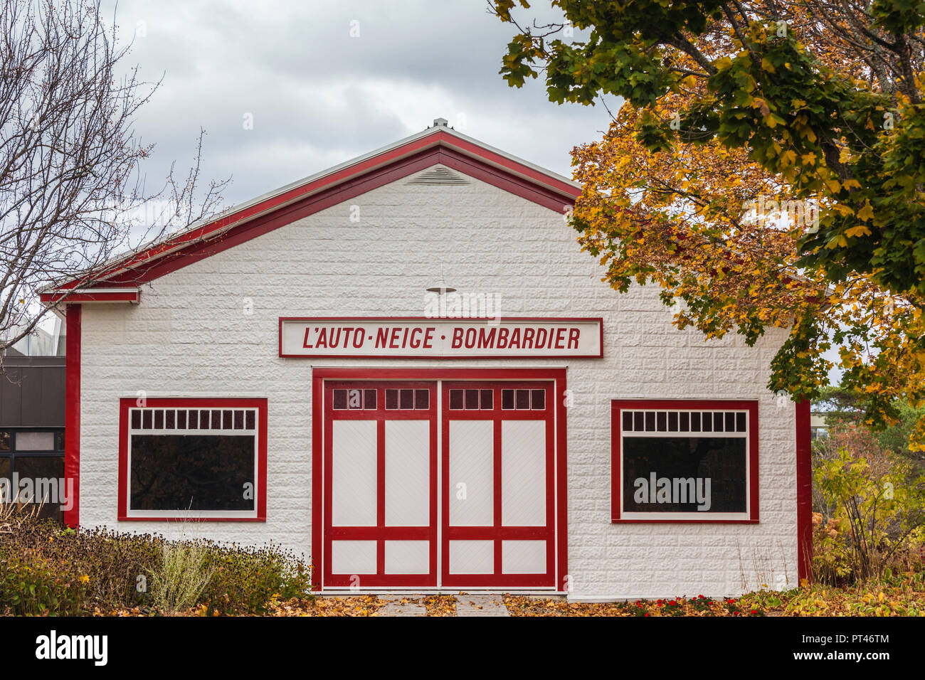 Canada, Quebec, Estrie Region, Valcourt, Musee J Armand Bombardier, museum dedicated to the inventor of the modern snowmobile, inventor's original garage, exterior - Stock Image