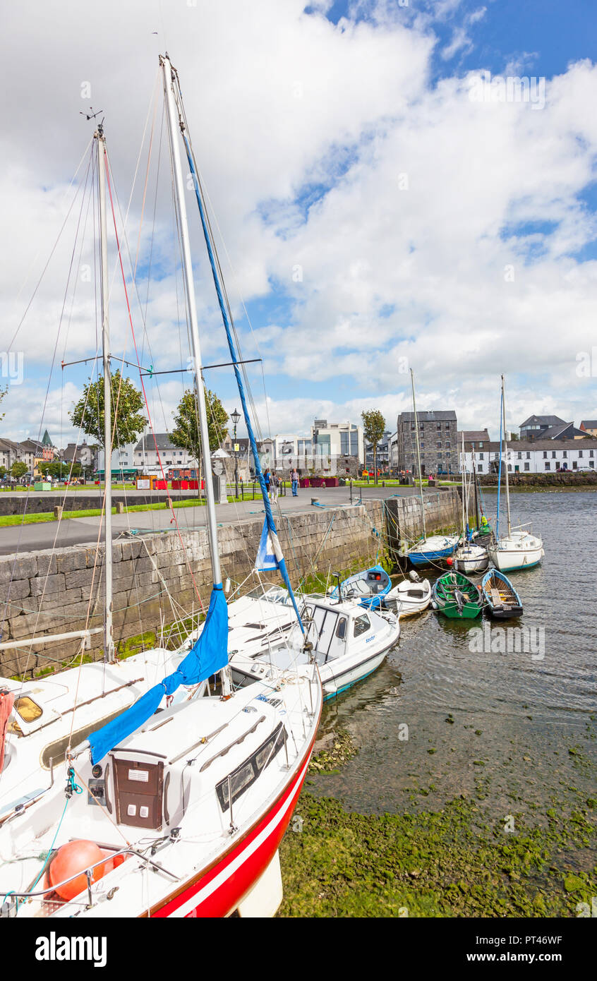 GALWAY, IRELAND - AUGUST 18, 2012: A view from the Claddagh, across the River Corrib,  towards The Long Walk in Galway, Ireland. Stock Photo