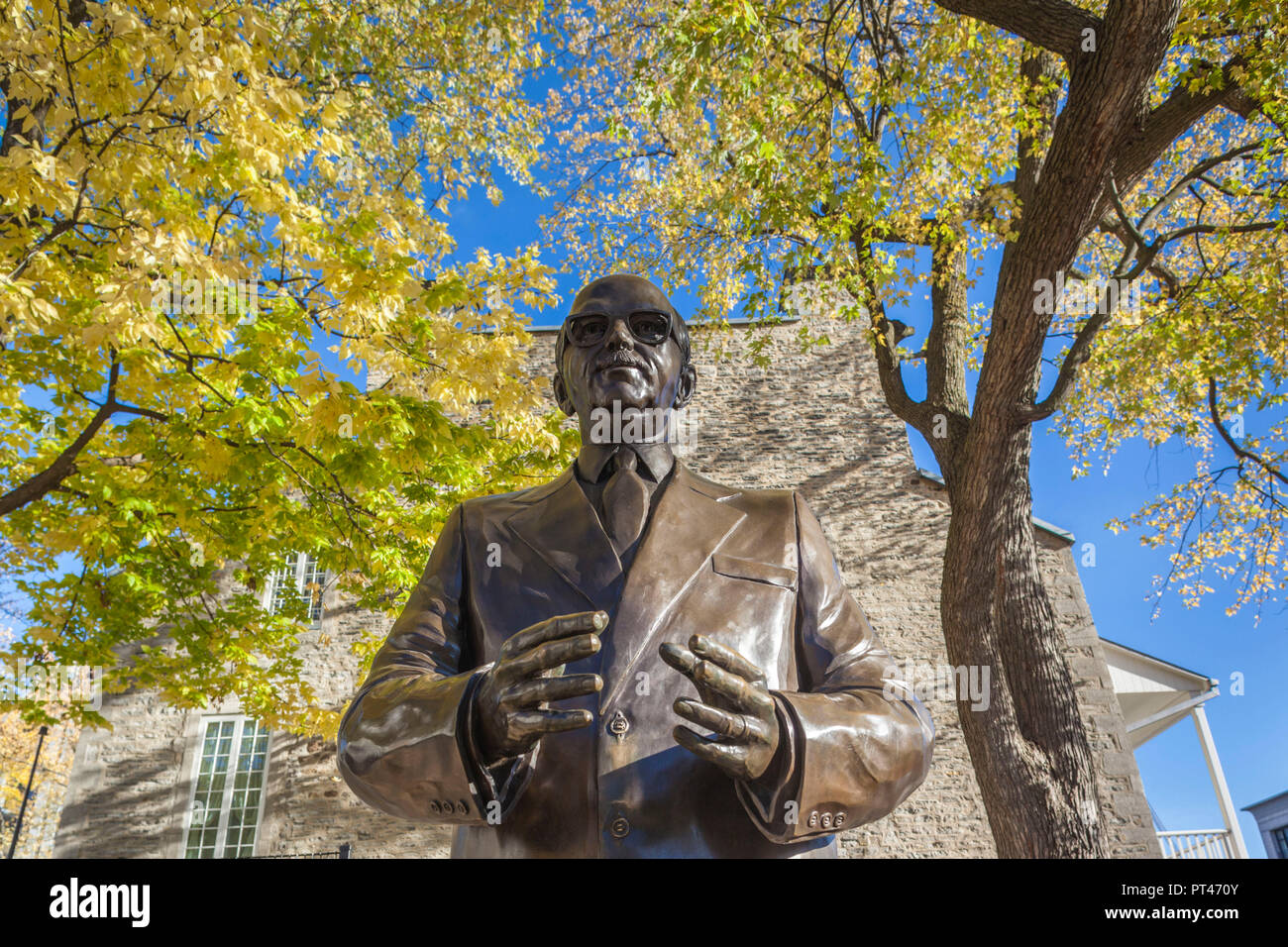 Canada, Quebec, Montreal, The Old Port, statue of Jean Drapeau, former Montreal mayor Stock Photo