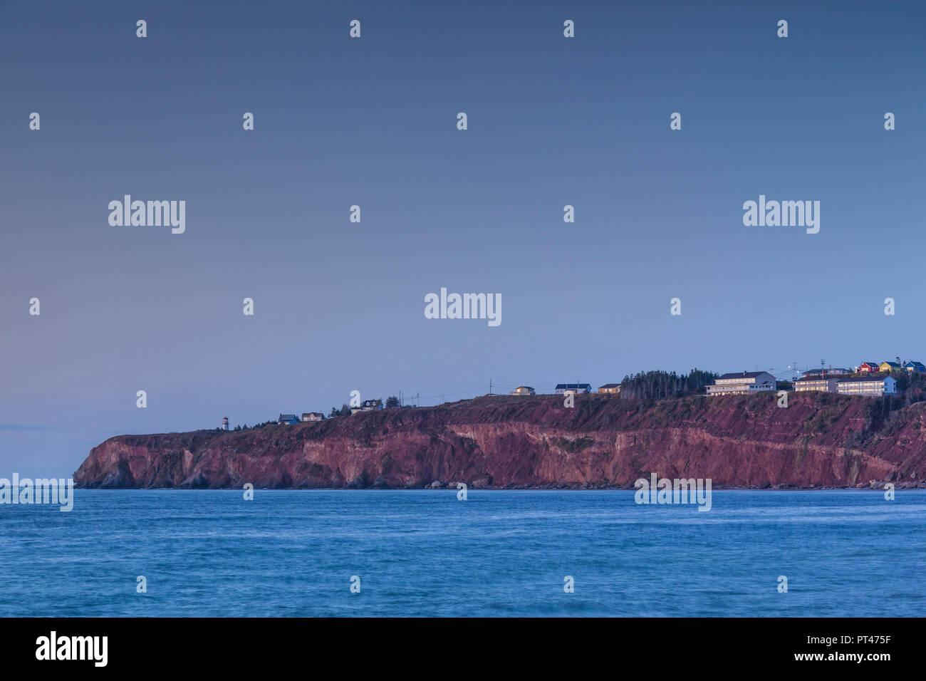 Canada, Quebec, Gaspe Peninsula, Perce, shoreline, dawn - Stock Image